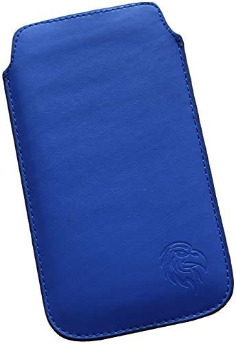 Dealbude24 Schutz Tasche für Huawei Nova 4 mit Hülle, Hülle Handy herausziehbar, dünnes Etui genäht mit Rausziehband, innen weiches Microfaser mit exklusiv Adler Motiv SXS Dunkel-Blau
