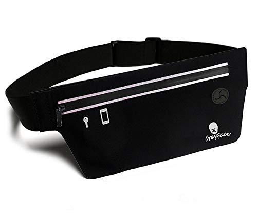 CrosFace Slim Laufgürtel für alle Handys (iPhone X/11/8/7/6/SE/XR/XS/Max/Plus/Pro, Samsung Galaxy S20/S10/S9/S8/Plus). Schlank Hüfttasche Joggen und Sport. Einheitsgröße Running Belt. (Schwarz)