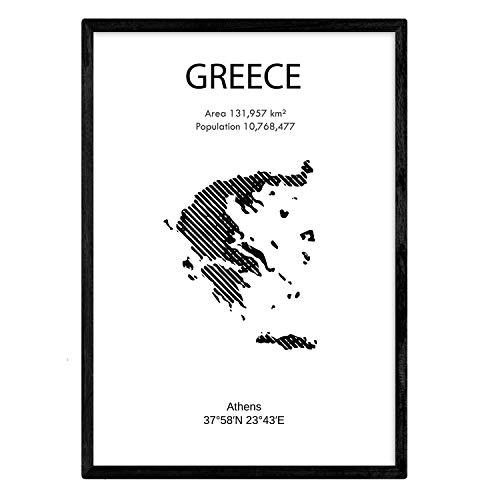 Nacnic Poster von Griechenland. Blätter von Ländern und Kontinenten. A3 Größe