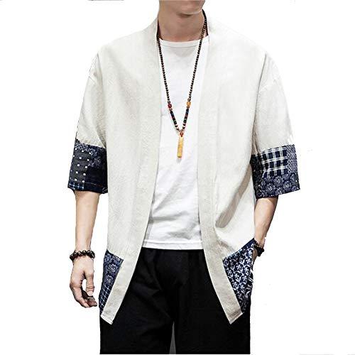 FTFDTMY Kimono para hombre, mezcla de lino, siete mangas, abrigo frontal abierto, chaqueta de Outwear ligera casual, algodón, blanco, L