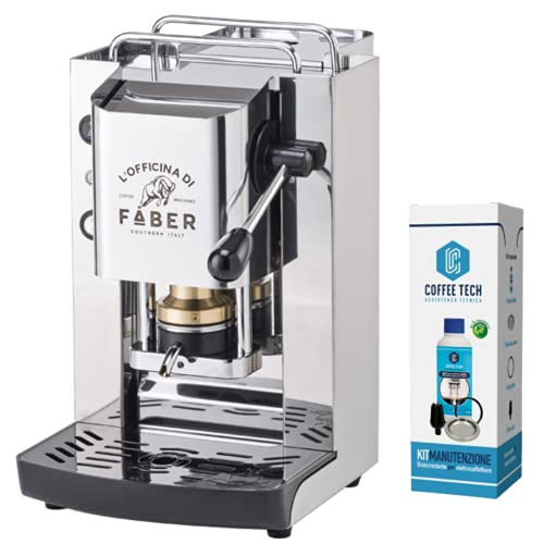 MACCHINA CAFFE A CIALDE IN CARTA ESE 44MM FABER Slot Pro Total Inox +KIT MANUTENZIONE + 20 CIALDE EMOZIONI QUOTIDANE NERA