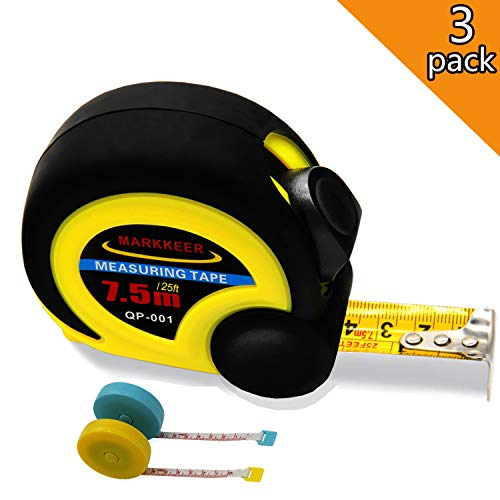 MARKKEER Tape Measure 25 Ft Thumb Lock Slider & Retractable Sturdy Heavy Duty Measuring Tape + 2 Pack Tape Measures for Body Tailor Cloth (60')