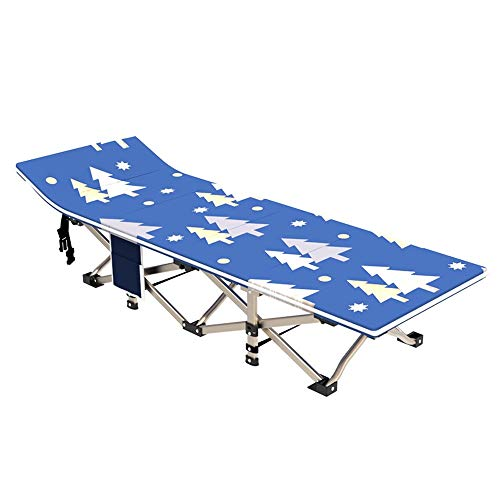 ZQS Folding Bed Chair Eight-fold Reinforced Square Steel Pipe Portable Folding Bed Outdoor Camp Bed Single Bed Office Siesta Bed 190cm, 3 Styles Indoor and Outdoor can (Color : B)