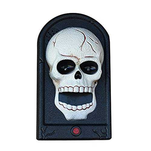 catyrre Halloween Scary Door Bell, Pumpkin Evil Witch Door Bell mit LED Eye Light Sound für Haunted House Party Supplies