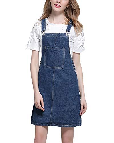 Shengwan Damen Kurze Jeanskleid Trägerrock Verstellbarer Schultergurt Jeans Latzrock Latzkleid Dunkelblau M