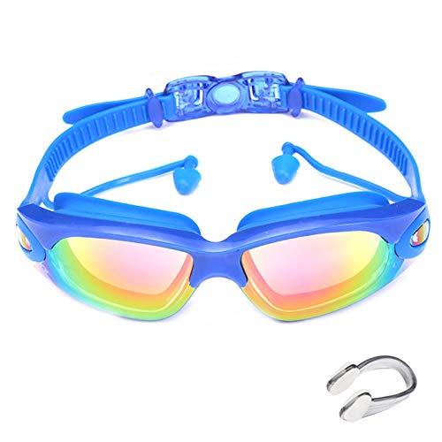 Anti-vaho HD Anti-UV Sin Fugas Gafas Natacion, Gafas Piscina Cómodo Tapones para los oídos adjunta, con Clip de Nariz/Correa de Ajustables para Deportes Acuáticos, Unisex(Color:Blue)
