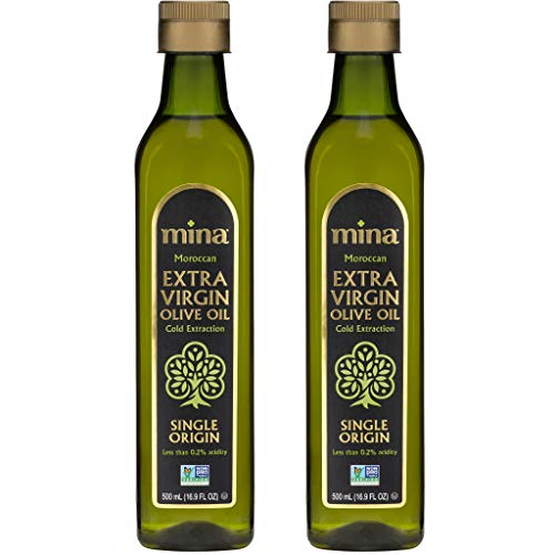 Mina Extra Virgin Olive Oil, Cold Extracted, Premium, Gourmet, Single Origin, (Pack of 2) 500ml (16.9oz), 1 Liter, Family Harvested, Full Traceability, Unblended, Ultra Low Acidity (Less Than 0.2%)