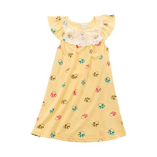 Allmeingeld Girls' Mushroom Nightgowns Cartoon Sleep Shirts Sleepwear Short Sleeve Yellow for 5 Years