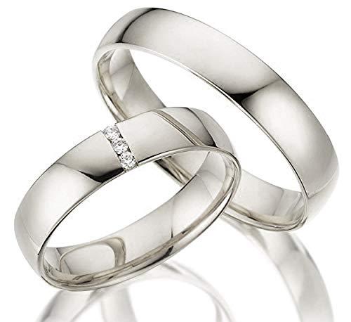 2 x 333 Trauringe Weißgold ECHT GOLD Eheringe schlichte Spannring LM.05.V2.WG Juwelier Echtes Gold Verlobunsringe Wedding Rings Trouwringen (Diamant)