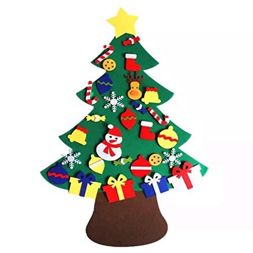 No/Brand Feltro Albero Natale,Albero di Decorazioni Natalizie in Feltro Fai da Te 3.12ft con 29 Pezzi Ornamenti Staccabili per Bambini Piccoli Regali di Natale Decorazioni da Appendere a Parete