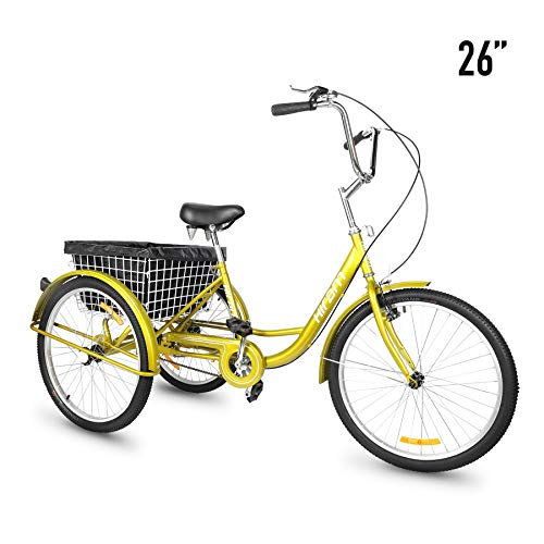 Big Save! HIRAM 3-Wheeled Adult Tricycle with Rear Basket, 24/26 Wheels Trike for Men and Women, S...