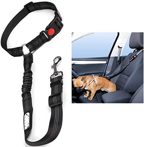 Headrest Dog Car Seat Belt Adjustable with Elastic Bungee Buffer Durable Headrest Pet Seat Belt Dog Car Safety Harness Restraint