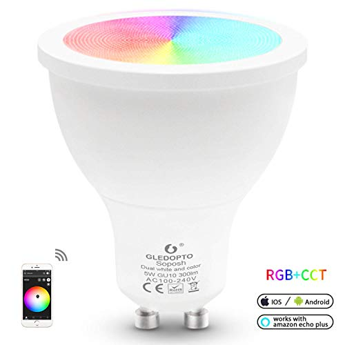 Wireless ZigBee Bulb LED Smart Bulb 5W GU10 RGB CCT Spotlight Bulb Dimmable APP Control Compatible with Amazon Echo Plus SmartThings Lightify etc (Bean Angle 120°)