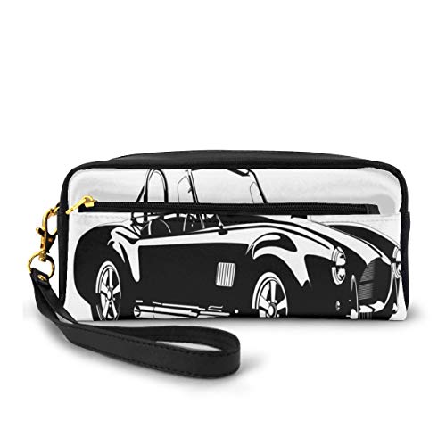 Pencil Case Pen Bag Pouch Stationary,Silhouette Classic Sport Car AC Cobra Roadster American Antique Engine Autosport,Small Makeup Bag Coin Purse