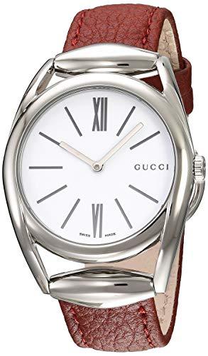 Gucci Horsebit Damen-Armbanduhr 34mm Armband Leder Schweizer Quarz YA140403