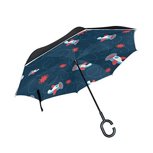 ALINLO Umkehrbarer Regenschirm im Weltraum, Flugzeug-Muster, doppelschichtiger Rückwärtsschirm wasserdicht für Auto Regen Outdoor mit C-förmigem Griff