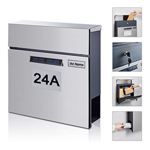 BONADE Solar Briefkasten mit Zeitungsfach Zeitungsbox A4 Einwurf-Format, Edelstahl Wandbriefkasten mit beleuchteter Hausnummer und Namensschild, abschließbar Inkl. 2 Schlüsseln
