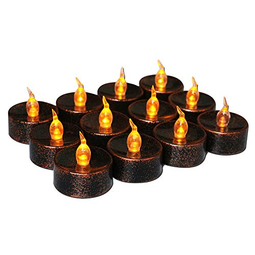 Retro flammenlose LED Teelichter 12 flackernde Kerzen LED batteriebetriebene Kerzen Elektrische Licht Kerze für Halloween, Weihnachten, Party, Tischdekoration, bernsteinfarbene Glühbirne Schwarz/Braun