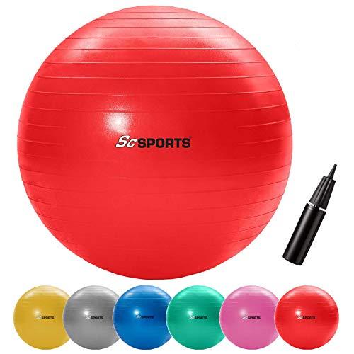 ScSPORTS Gymnastikball, Sitzball zur Entlastung der Wirbelsäule, als Yogaball geeignet, Ø 65 cm, Rot