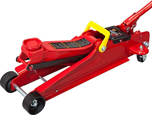BIG RED TAM825051 Torin Hydraulic Low Profile Trolley Service/Floor Jack with Single Piston Quick Lift Pump, 2.5 Ton (5,000 lb) Capacity, Red