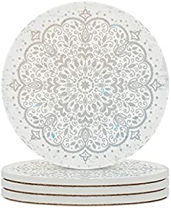 BTJC88 Posavasos de cerámica gris, duradero, base de corcho, posavasos de agua moderno, rayas para exterior, regalo de cumpleaños blanco, 6 unidades