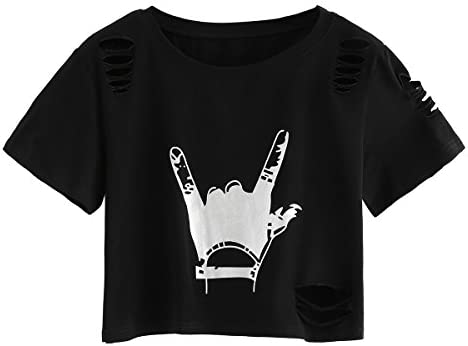 SweatyRocks Women s Short Sleeve T Shirt Graphic Print Distressed Crop Top Gesture Black X Large product image