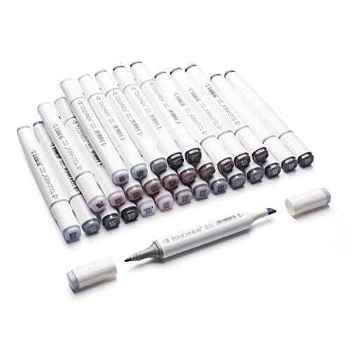 30 Farben Grafik Zeichnung Malerei Stift Kunst Dual Tip Sketch Pen Twin Marker Färbung Hervorhebung Unterstreichung Set mit Tragetasche (Graustufen-Marker)