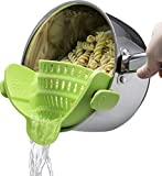 Kitchen Clip-on Strainer for pots, Universal Pot & Pan Clip- on Strainer, Safe Heat Resistant Clip-on Pot Strainer, Green, Dishwasher Safe, Strong Clip-on Colander, Silicon Made Pot Strainer