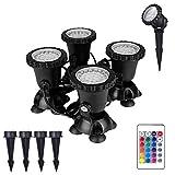 Teichlicht Rasenleuchte, Wasserdicht IP 68 Gartenteichleuchten, 36 LED-Beleuchtungs-Spotlampe Einstellbarer 180 ° -Lampenkopf Mit Steckstangen Und Saugnäpfen, Ferngesteuert
