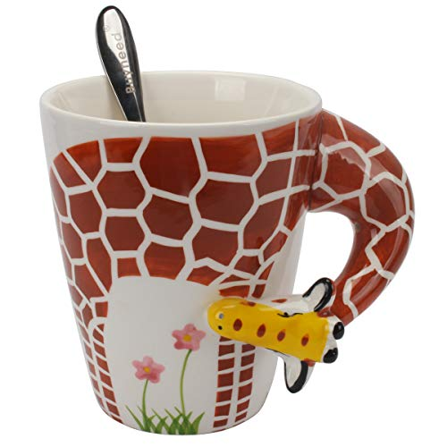 Novelty Funny Hand Painted Coffee Mug - Giraffe 3D Handle Handmade Large 15 oz Porcelain Tea Cup Unique Ideal Gifts