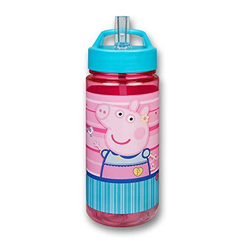 Scooli PIGP9913 - Aero Trinkflasche, Peppa Pig, mit integriertem Strohhalm und Trinkstutzen, BPA und Phthalat frei, ca. 500 ml Fassungsvermögen
