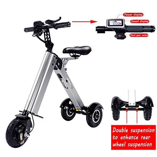 \t Mini Falten Elektroauto Erwachsene Lithium-Batterie Fahrrad Dreirad Lithium-Batterie Faltbare Tragbare Reise Batterie Auto (kann Gewicht 120 KG) Grey