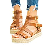 Sandals for Women Heels Leopard Print Wedge Sandals for Women, Plus Size Low Heel Gladiator Roman Sandals, Double Strap Buckle Sandal Brown