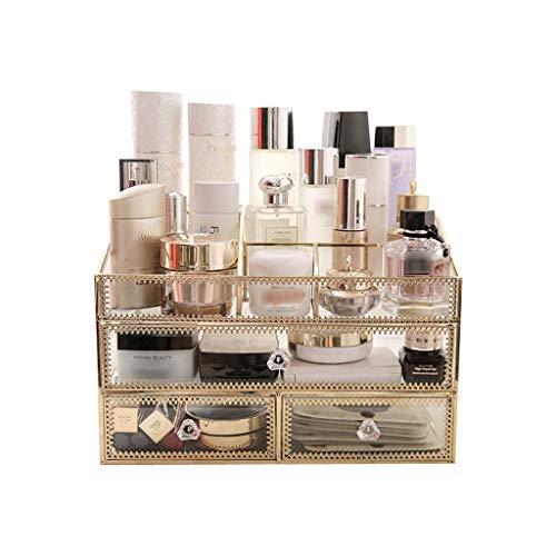 XUEXIU Boîte De Stockage De Verre Cosmétique Cosmétique Cas Rétro Coiffeuse Boîte De Finition Porte-boîte De Maquillage De Bureau Transparent (Color : Gold, Size : 30 * 20 * 20CM)