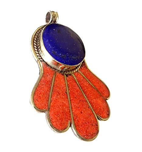 India Jewel Store Azul lapislázuli y Rojo Coral Piedra Preciosa Colga
