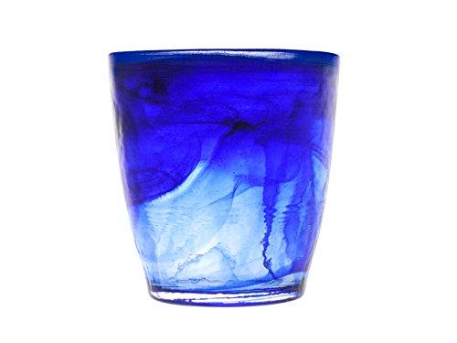 H&H Alabastro-Juego de 6 Vasos, Cristal, 230 ml, Azul Cobalto