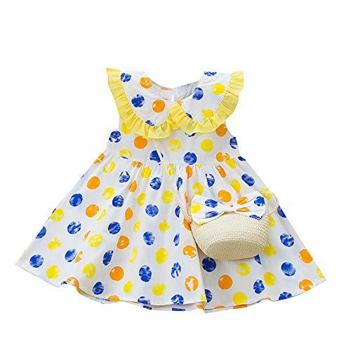 Babykleidung Mädchen Sommer,Covermason Babykleidung Baby Mädchen Kleid Ärmelloses O-Neck-Kleid Blumenschleife Prinzessin Sommerkleider Festes Kleid (Gelb-Kirsche, 2-3 Jahre)