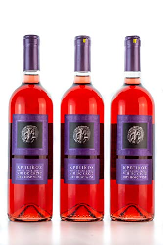 3x 750ml Vin de Crete Rosewein trocken 11,5% Michalakis kretischer Rose Wein griechischer Tafelwein im 3er Set + 10ml Olivenöl zum testen