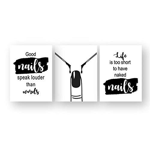WLKQY Pintura en lienzo, decoración de la pared del salón de belleza, esmalte de uñas, carteles impresos y citas, regalo de artista tecnológico, 40x50 cm x 3 sin marco