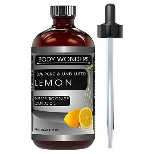 Body Wonders 100% Pure & Undiluted Lemon Oil Lemon Therapeutic Grade Essential Oil 4 Fl Oz 118 Ml