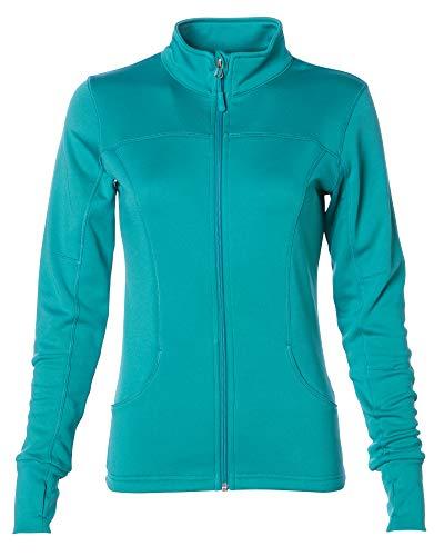 Global Women's Slim Fit Lightweight Full Zip Yoga Workout Jacket M Lapis Green