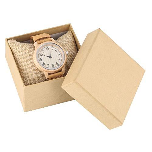 FMXKSW Damenuhr, Natural All Bamboo Wood Clock Uhren Quarz Damen Kleid Uhr Holz Armreif, Leder mit Box