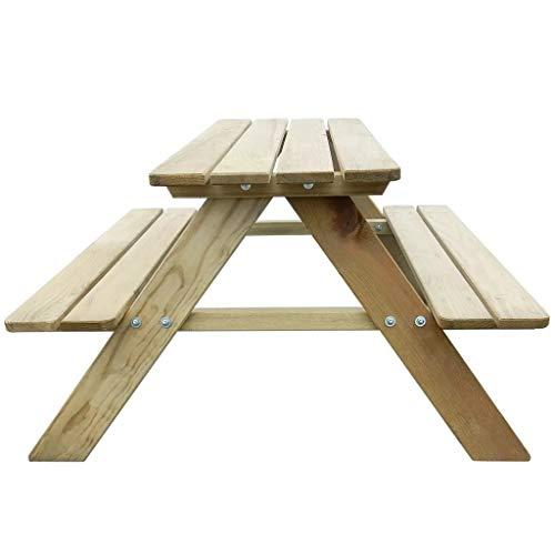 Mesa de picnic para niños, mesa de madera, banco de pino, autoclavado, resistente a la intemperie, mesa de comedor y mobiliario de jardín, tamaño aproximado 89 x 89,6 x 50,8 cm