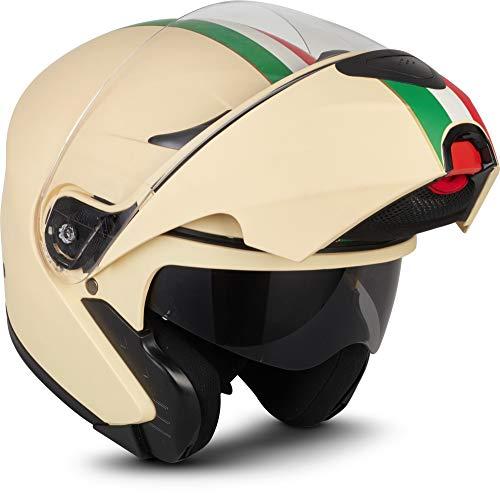 "Moto Helmets® F19 ""Venice Creme"" · Motorrad-Helm · Klapp-Helm Modular-Helm Flip-up Integral-Helm Motorrad-Helm Roller-Helm Sport · ECE 22.05 Sonnenvisier Schnellverschluss Tasche M (57-58cm)"