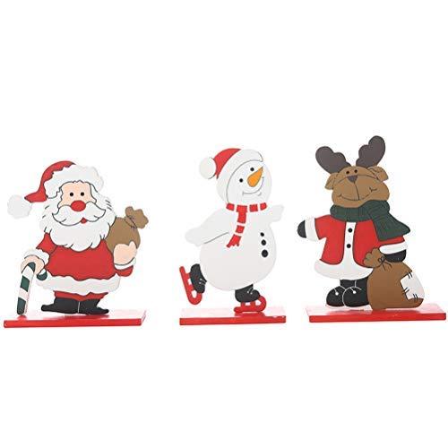 PTS Christmas Wooden Standing Ornament Cute Elk Santa Snowman Shape Party Pendant Xmas Party Desktop Doll Decoration 3 Pcs