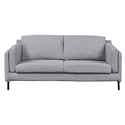 Panana 3 Seater Sofa Linen Fabric Sofa Settee Couch Modern Upholstered Compact Sofa with Metal Legs for Living Room Lounge Home Furniture (Light Gray, 3 Seater)