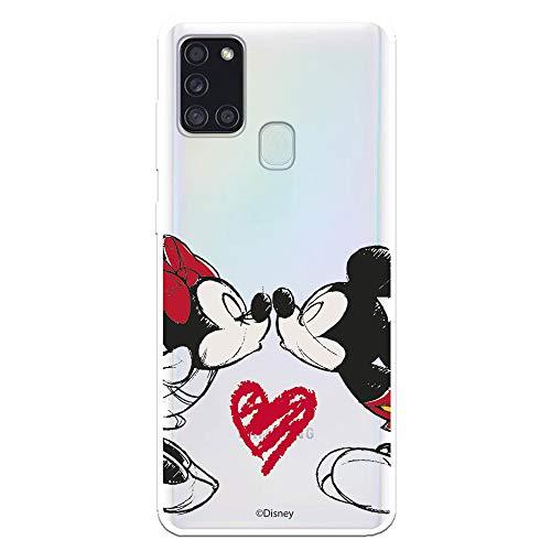 Funda para Samsung Galaxy A21S Oficial de Clásicos Disney Mickey y Minnie Beso para Proteger tu móvil. Carcasa para Samsung de Silicona Flexible con Licencia Oficial de Disney.