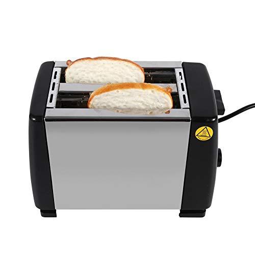 FastUU Tostadora eléctrica, tostadora de Acero Inoxidable de 2 rebanadas Tostadora de Pan de Ranura Ancha con 6 Niveles de Calor Ajustable, botón desplegable de Pan para el Desayuno Horneado de Pan