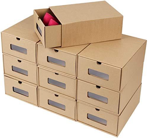 MVPower 20 PCS Boîte à Chaussures en Papier Epais,Kraft Boîte de Rangement avec Tiroir,Boîte Carton pour Chaussures,Linges, Jouets