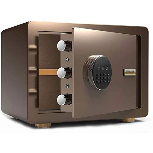 SMLZV Cajas fuertes, Acero de seguridad Caja de seguridad digital-electrónica con teclado, dinero Protect, joyería, pasaportes-residencial, comercial o de viaje (Color : Brown)